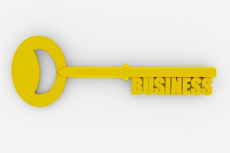 Gold key to successful business on white surface. Concept. 3D render image. photo