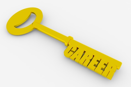 Gold key to successful career on white surface. Concept. 3D render image. photo
