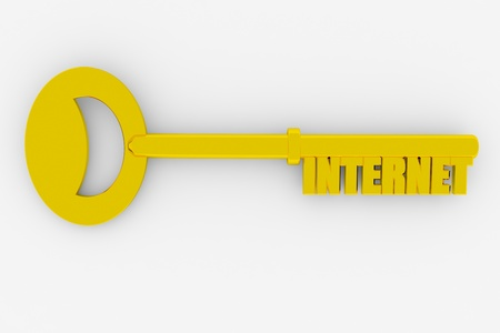 metadata: Key with INTERNET word isolated on white. 3D render image.