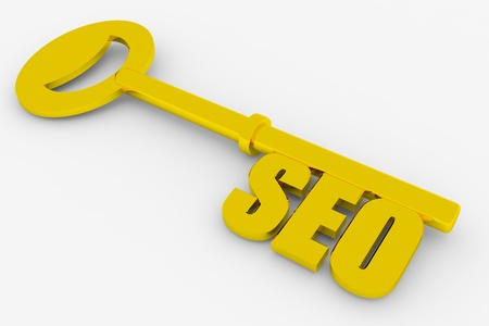 metadata: Key with SEO word isolated on white. 3D render image.