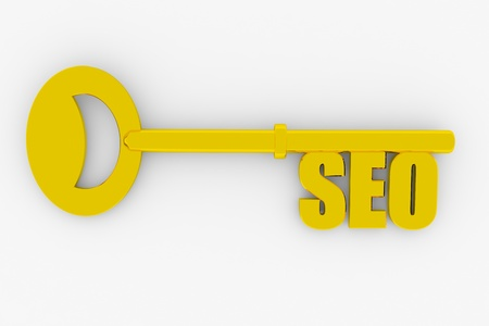 keywords: Key with SEO word isolated on white. 3D render image.