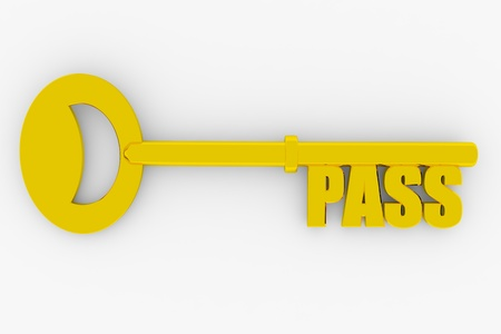 Key with PASS word isolated on white. 3D render image. photo