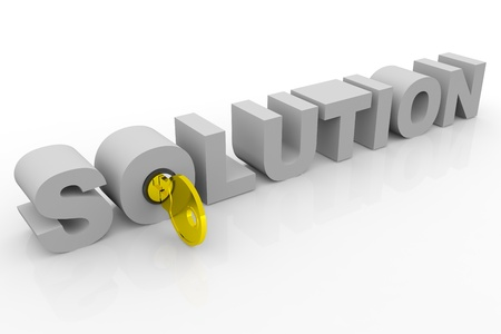 Key to solution into 3D word. Concept. 3D render image. Stock Photo - 9344098