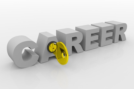 Key to career into 3D word. Concept. 3D render image. photo