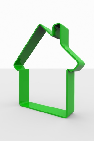Green 3D sign of house. 3D rendering image. Stock Photo - 9344109