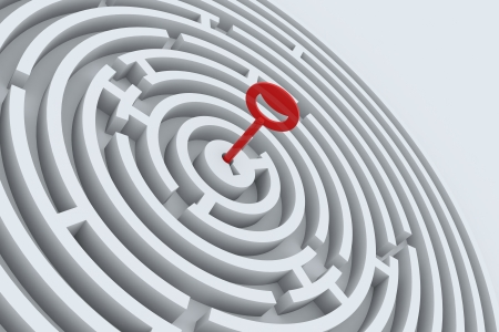 lockout: Key for maze in perspective. 3D render image.