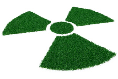 Radiation symbol from grass isolated on white. Perspective Stock Photo - 9387990