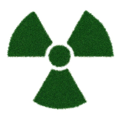 Radiation symbol from grass isolated on white photo