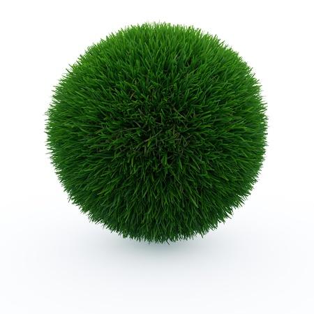 planeta verde: Bola de hierba isoleted en blanco