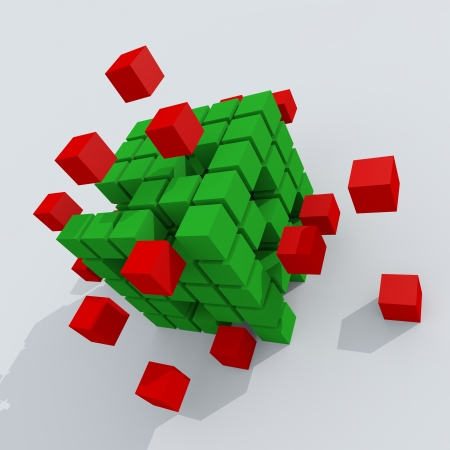 bussiness: Red and green 3d cubes. Concept.