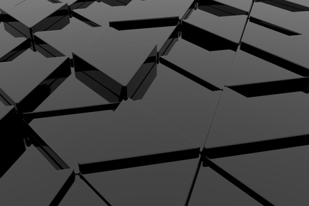 Black glossy triangle on different height. Background. photo