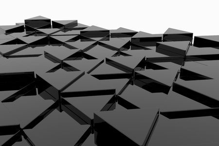 3d triangle: Black glossy triangle on different height. Background. Stock Photo