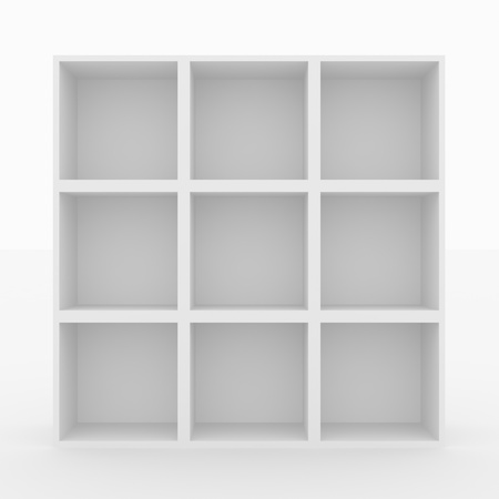 Empty white bookshelf isolated on white. 3D render image. Stock Photo - 9441364