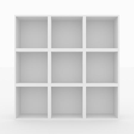 shelves: Empty white bookshelf isolated on white. 3D render image.