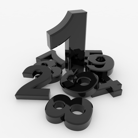 numerics: Number one and another small numbers around it. Black glossy 3D render image.