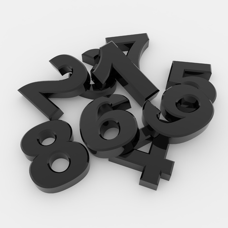 digital number: Black glossy 3D numbers on white surface Stock Photo