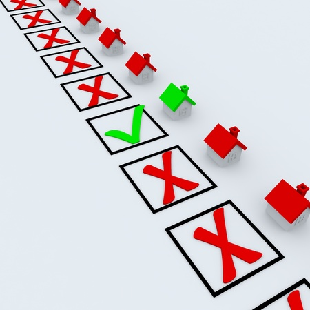 Green and red check marks near little houses. Representing success, choice and decision making Stock Photo - 9442210