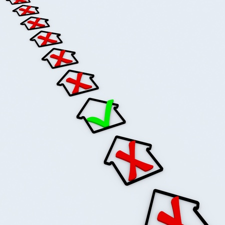 House symbol with green and red check marks. Approved and rejected. Stock Photo - 9442207