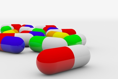 depressant: Colorful pills on white surface. 3D render image. Stock Photo