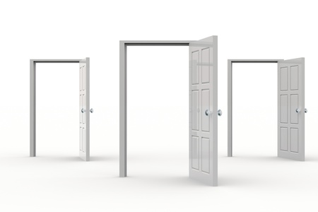 possibilities: Three white open doors. Concept of possibilities.