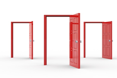 opportunity concept: Three red open doors. Concept of possibilities.