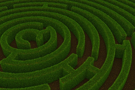 Maze with grass walls and ground floor. 3D render image.