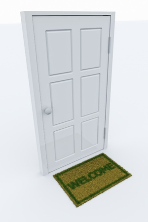 Isolated door with a welcome mat. photo