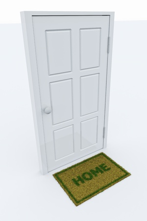 Isolated door with a HOME mat. photo