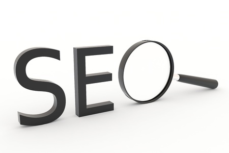 SEO - Search Concept. Magnifying glass as O symbol. Stock Photo - 9441350