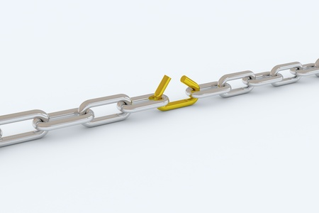 Metal chain, with one lose link. Metaphor for many possible ideas. 3D render image. Stock Photo - 9555809