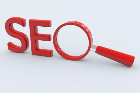 SEO - 検索の概念。O の記号として虫眼鏡。