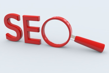 SEO - Search Concept. Magnifying glass as O symbol. photo