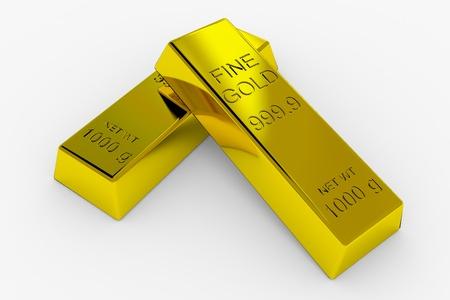 goldbars: Gold Bars Isolated on White. 3D render image.