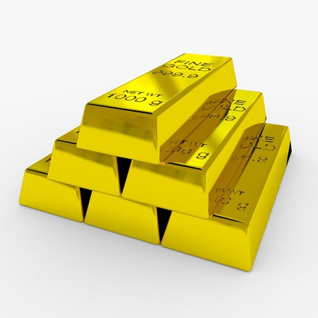 Gold Bars Isolated on White. 3D render image. photo