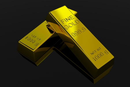Gold Bars on black glossy surface. 3D render image. photo