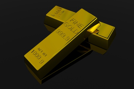 Gold Bars on black glossy surface. 3D render image. Stock Photo - 9555813