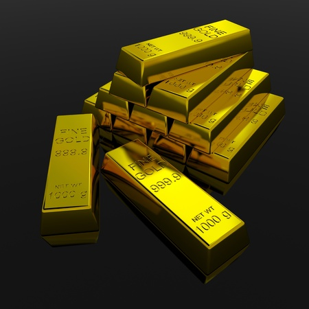 goldbars: Gold Bars on black glossy surface. 3D render image. Stock Photo