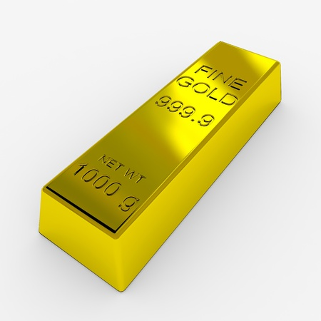Gold Bar Isolated on White. 3D render image. photo