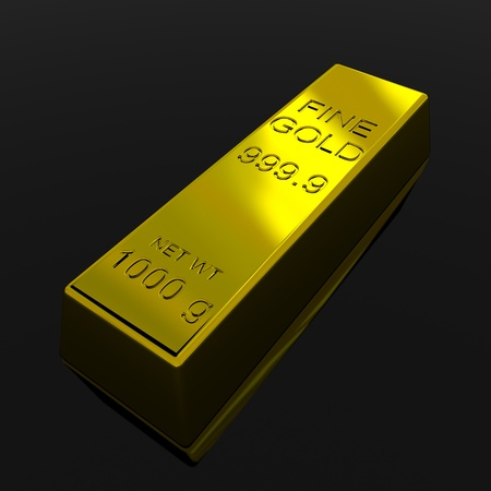 Gold Bar on black glossy surface. 3D render image. photo
