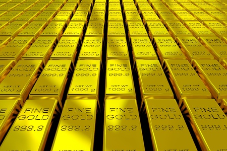 gold ingot: A lot of Gold Bars on the floor. 3D render image. Stock Photo