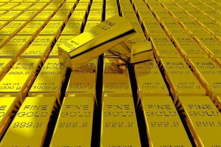 A lot of Gold Bars on the floor. 3D render image. Stock Photo - 9555872