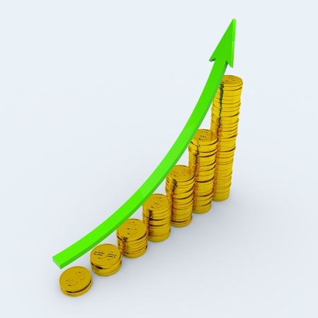 coin stack: Graph with green arrow and coins showing profits and gains. 3D render image. Stock Photo