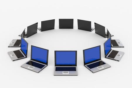 Laptops around the ... Concept of global network. Stock Photo - 9555805