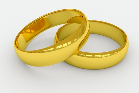 interlocked: Wedding rings on a white background. 3D render image.