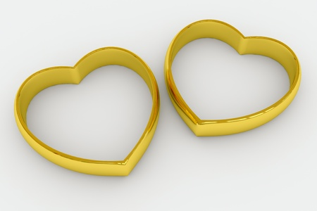 2 objects: Heart shaped gold wedding rings on white background. 3D render image.