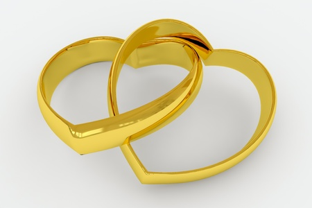 linked: Heart shaped gold wedding rings on white background. 3D render image.