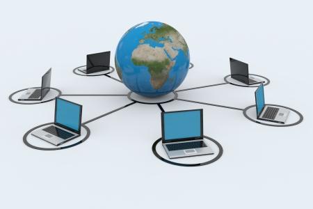 ネットワーク接続の概念3D イメージをレンダリングします。 写真素材