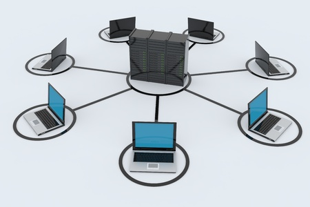 Computer Network with server on white background. 3D reder image. Stock Photo - 9555819