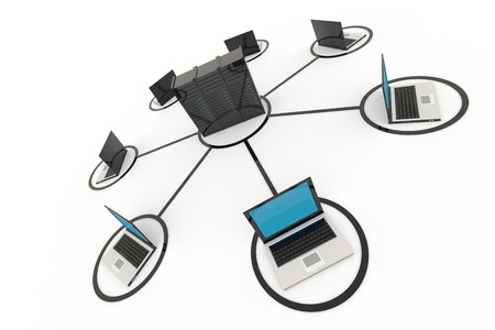 network topology: Computer Network with server on white background. 3D reder image. Stock Photo