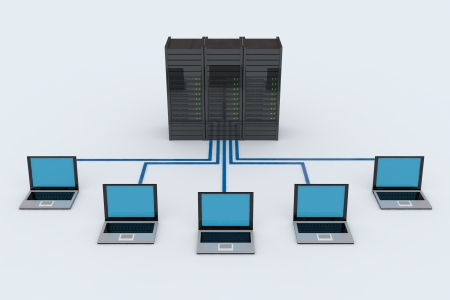 computer terminal: Computer Network with server on white background. 3D reder image. Stock Photo